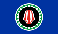 blue with a red headdress inside a black circle surrounded by a ring of green and white triangles