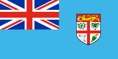 light blue British ensign with a coat of arms