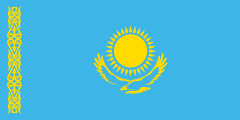 blue with a yellow eagle and sun in the middle and a yellow ornamental stripe towards the left side