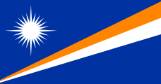 blue with an orange-white diagonal band fanning out and a white 24-point star at top-left