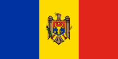 blue-yellow-red bands with a coat of arms in the middle