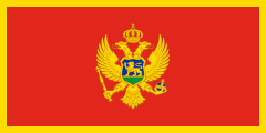 red with a thin yellow outline and a coat of arms inside a golden double-headed eagle in the middle
