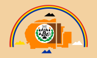 tan with a seal on a map surrounded by four black-white-blue-yellow mountains, all under a rainbow