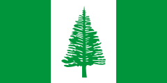 green-white-green bands with a green norfolk pine
