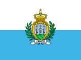 white-blue stripes with a coat of arms