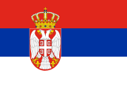 red-blue-white stripes with a coat of arms towards the left