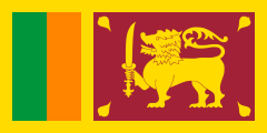 yellow with orange and green vertical bars next to a maroon field with a yellow lion